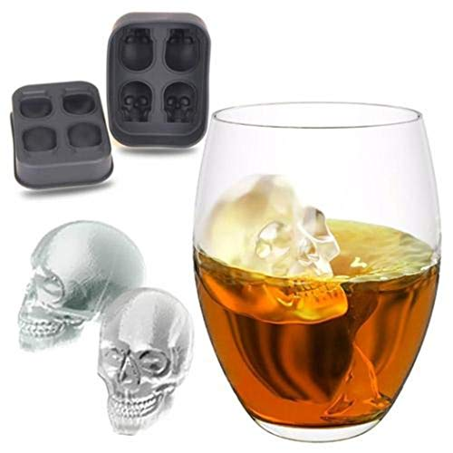 Eleusine 4er 3D Schädel Eiswürfelform Schwarz Silikon Eiswürfelbehälter mit Deckel für Whisky Cocktail Pudding Milch Saft Bier -