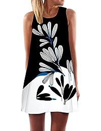 Vestidos mujer casual verano 2018,VENMO Vintage mujeres bohemio verano sin mangas flores impresa mini