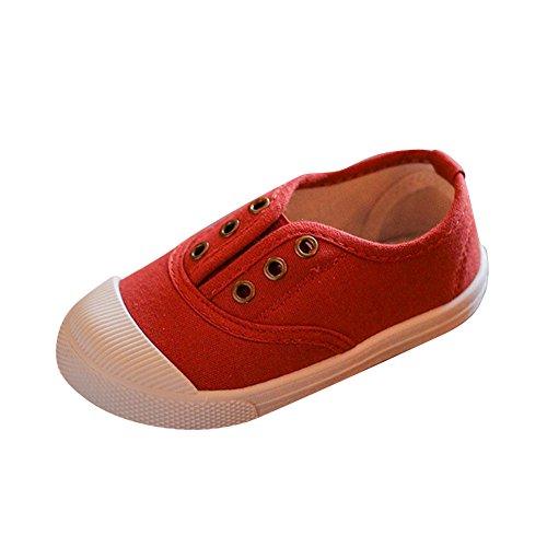 Inglesa Lona Tintada Punt Zapatillas Niños Zapatillas de Deporte de Tela Vino Rojo 26