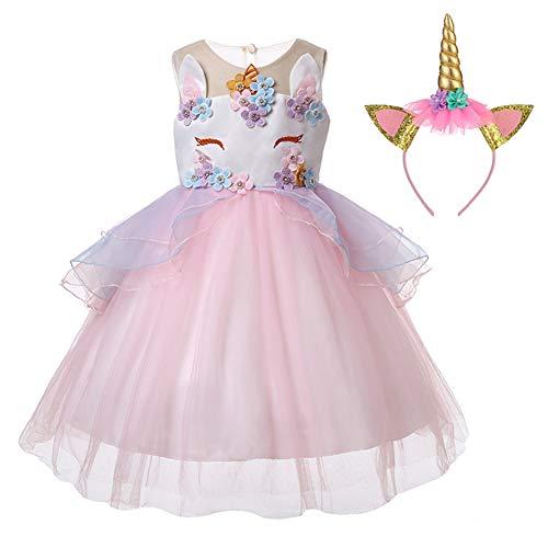 Kinder Kostüm Festival - LZH Mädchen Einhorn Party Kleid Blume Rüschen Cosplay Geburtstag Prinzessin Kleid