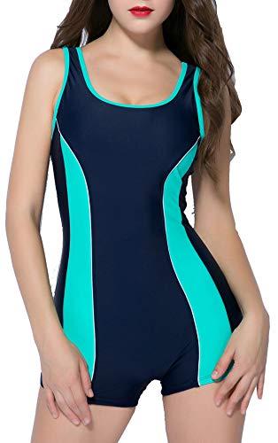 BeautyIn Wettkampf Schwimmanzug für Damen mit Beinen Bademoden Sportlich Elastisch Badeanzug S