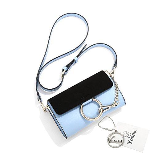 Borsa a tracolla in ottone Yoome Borsa a tracolla circolare Anello per borse per donne Borse mini borse per adolescenti - Nero Blu