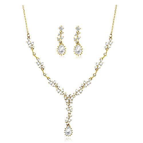 äne Perlen Kristall Strass 925er Silber 14K Gold Halskette Ohrringe Frauen Braut Hochzeit Geschenke ()