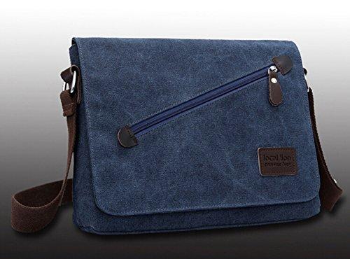 Aidonger Local Lion Herren Canvas Schultasche Umhängetasche Schultertasche Retro Messenger Bag (Schwarz) Blau