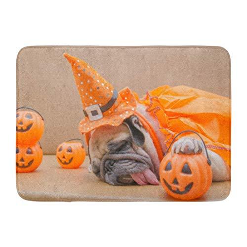 Bad Teppiche Outdoor/Indoor Fußmatte Cute Pug Dog Kostüm von Happy Halloween Day Schlaf Rest auf Sofa Kunststoff Kürbis Jack O Laterne Badezimmer Dekor Teppich Badematte ()