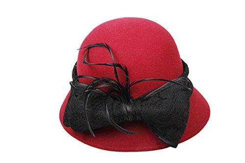 Dantiya-Femme Chapeau Cloche en Coton avec Nœud Papillon Rouge