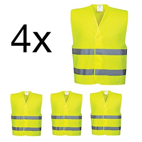 4x-Warnwesten-EN471-Warnweste-Pannenweste-Sicherheitsweste-Weste-reflektirerend-neon-fr-Auto-Pkw-Sicherheitsset