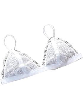 lenceria mujer, AIMEE7 Sujetador floral de encaje transparente para mujer Triangle Bralette sujetador crop top...