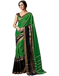 Indira Designer Women's Green Color Cotton Silk Saree With Blouse