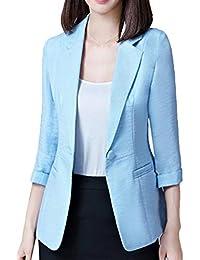eff7b71bad98 Donna Outerwear Autunno Manica Lunga Bavero Sottile Ufficio Blazer Eleganti  Giovane Moda Casuali Colori Solidi Lino