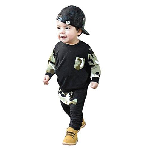 Pullover Set Kleinkind Btruely Unisex Langarm Baby Clothes Set Camouflage Spielanzug + Hosen Kappe Outfits Kinder (80, Schwarz) Kind Knit Pant