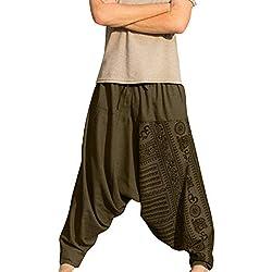 Hombres Pantalones Deporte Verano Jogging Casuales Pantalón Chandal Vintage Estampado Sueltos Pantalón de Playa Tallas Grandes Pantalone de harén Pantalones etnicos con Bolsillos Gusspower