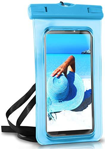 ONEFLOW Wasserdichte 360° Handy-Hülle für alle HTC Modelle [Full-Body Cover] Touch-Funktion und Kamera-Fenster + Armband und Schlaufe zum Umhängen, Blau