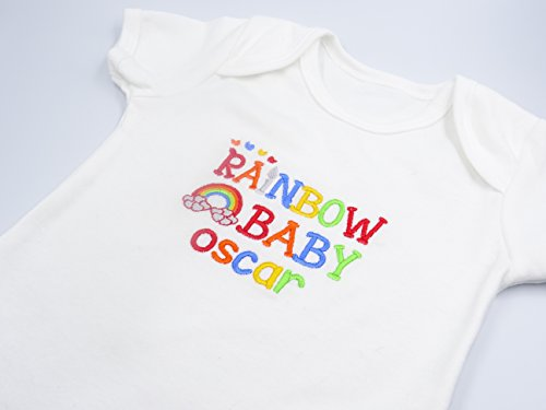 Personalised Embroidered Baby Vest Bodysuit - RAINBOW BABY Clothing - RAINBOW MOTIF - **Add Any Name** Or Surname for Baby Shower - Beautiful Unique Gift and Keepsake
