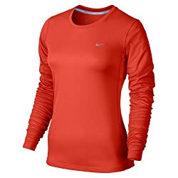 Nike Damen Miler Langarm Shirt, Light Crimson/Reflective Silver, L