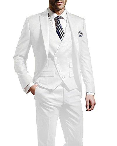 Suit Me Herren 3-Teilig Anzug Slim Fit Hochzeiten Party Smoking Anzuege Sakko,Weste,Hose Weiss S