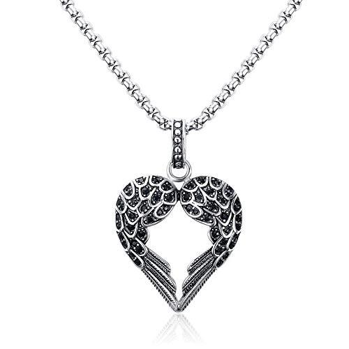 DADATU Halsketten für Herren Vintage Punk Mens Necklaces Pendant Stainless Steel Black Tone Crystal Guardian Angel Heart Wings/Wing Halskette Geschenk Für Frauen