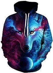 Colorful Starry sky wolf Hoodies For Women Men fashion Streetwear Clothing Hooded Sweatshirt 3d Print Hoody ca