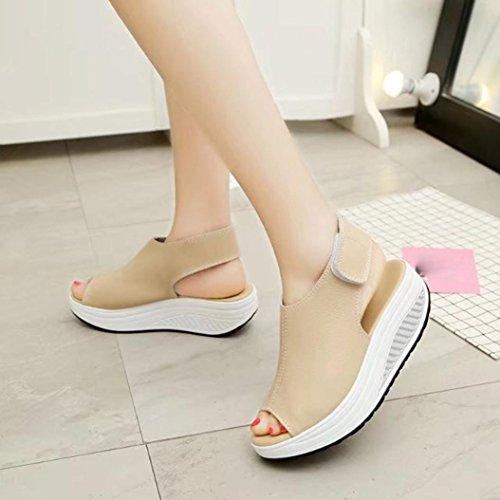 Hunpta Mode Frauen schütteln Schuhe Sommer Sandalen dicken unteren High Heel Schuhe Beige