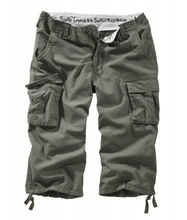 Surplus Trooper Legend 3/4 Shorts, Grün (Oliv Gewaschen), Gr. L Pocket Bottoms Jeans