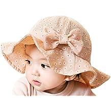 HappyCherry Baby Mädchen Sonnenhut Sommer Babymütze mit Schleife Komfortable Atmungsaktiv