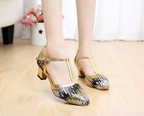 Minitoo QJ706–épais moderne à Paillettes scintillant Salsa écoles de danse Satin Tango latine chaussures Or - doré