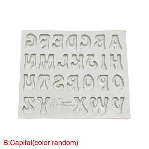Xiangpian183 Silikon-Form mit 26 englischen Buchstaben, zum Backen von Kuchen, Keksen, Schokolade, Kuchen etc. (zufällige Farbauswahl), Rose, Lowercase Letter 10.4x12.5x0.8cm/4.09 * 4.92 * 0.31in