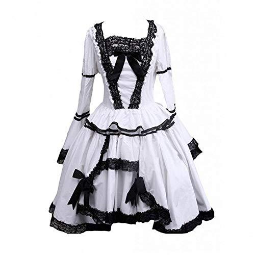 QAQBDBCKL Mittellanges Kleid Damen Schwarz Und Weiß Spitze Getrimmt Gothic A-Line Lolita Cosplay Kleid Für Casual/Party/Halloween (Spitzen-kleid Weißes Halloween)