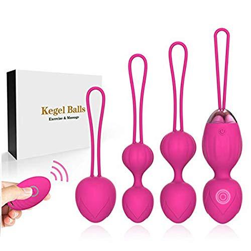 Kegel - Pesas de ejercicio 2 en 1 con masajeador Ben Wa para principiantes, silicona mejorada, control remoto inalámbrico, masajeador de piso pélvico recargable, kegel ejercicio