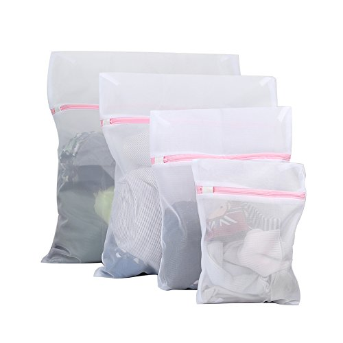 anregende Mesh Wäschesäcke, Set 4Haltbare Waschen Taschen mit Reißverschluss für Kleidung, feine - Mesh-baby-wäsche-tasche