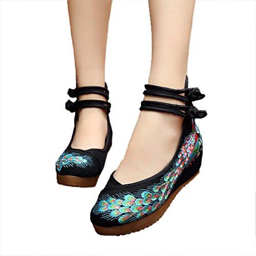 HANMAX Damen Chinesische Bestickte Schuhe Elegant Mary Jane Halbschuhe Sommer Sandalen Ballerina Espadrilles