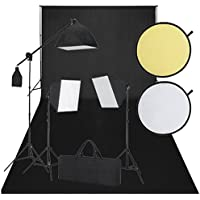 vidaXL - Kit studio con sfondo nero, 3 luci giorno
