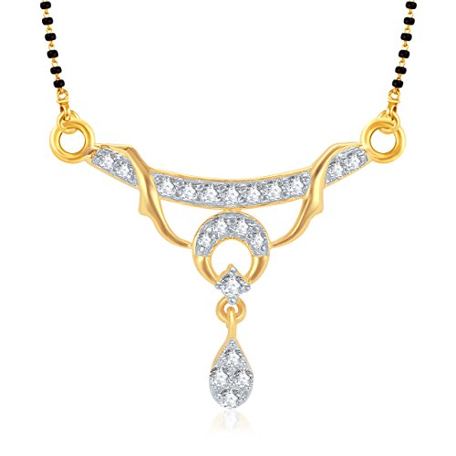 Meenaz Mangalsutra Set Gold Pendant With Chain in American Diamond Jewellery For Women MS724  available at amazon for Rs.190
