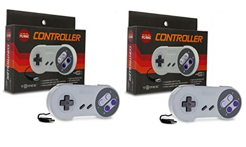SNES Retro USB Super Nintendo Controller für Windows PC/Mac - 2 Pack Bundle (Controller Retro Nintendo)