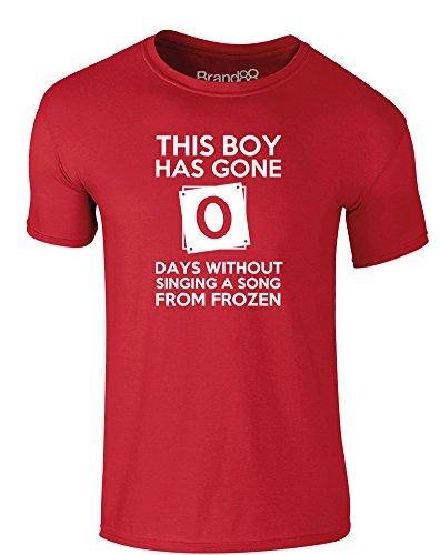 Brand88 - This Boy Has Gone..., Erwachsene Gedrucktes T-Shirt Rote/Weiß