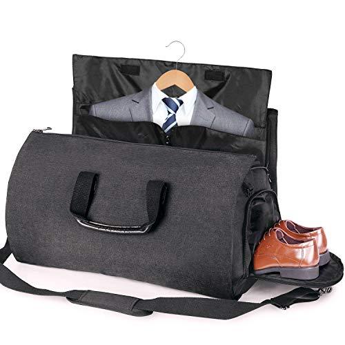 2-in-1 Bussiness Anzugtasche Kleidertaschen Set Kleidersack Reisetasche Handgepäck Schuhfach Anzugsack Kleidersack für Anzüge (Schawarz, 45L)