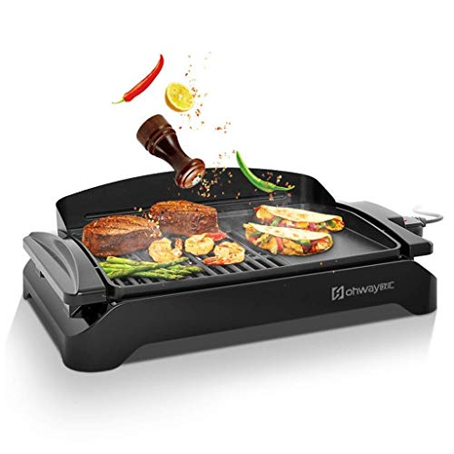 Seeksungm grill elettrico, grill, trattamento superficiale antiaderente per barbecue, maniglia manico resistente al calore, dimensioni: l54.5cm * l33.7cm * 12.2cm