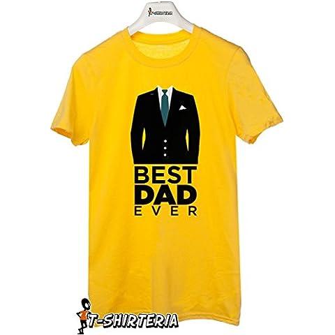 T-Shirteria - Camiseta para regalo del día del Padre, todas las tallas, modelo mejor padre amarillo Talla:Medium