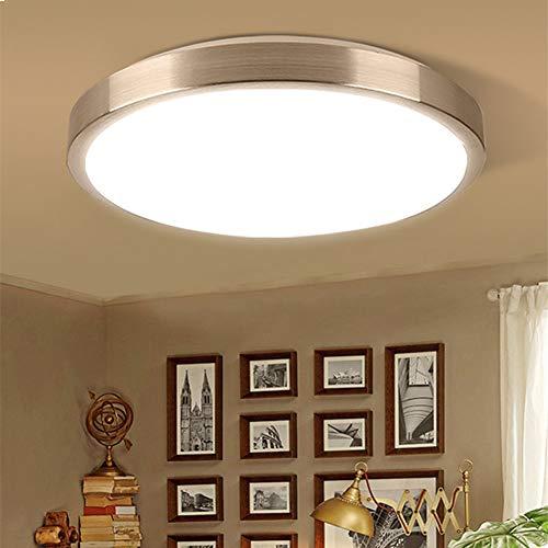 SHELLTB LED dimmbare Deckenleuchte mit Metallring für die Unterputzmontage Round Daylight 1875 Lm Nickel Finish mit Acrylschirm ETL und Energy Star,WarmWhite,L33CM -
