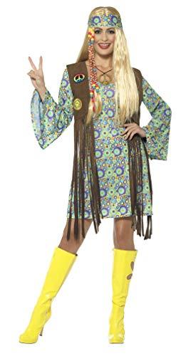 Smiffys Damen 60er Jahre Hippie Chick Kostüm, Kleid mit Weste, Medaillon und Haarband, Größe: 36-38, - Hippie Weste Kostüm