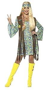 Smiffys-43127L Disfraz de Hippie años 60 para Chica, con Vestido, Chaleco, medallón, Multicolor, L-EU Tamaño 44-46 (Smiffy