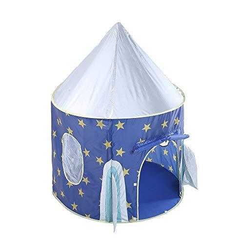 Kinderspielhauszelte Tunnel Kinder Raum Pop Up Spielhaus Spielzeug Zelt Star Rocket Castle Spielhaus Nette Faltbare Prinzessin Große Indische Tipi Zelt for Jungen Mädchen Mit Tragetasche, blau für Mäd