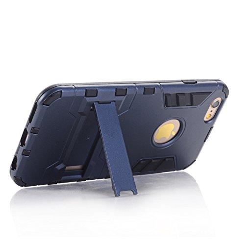 Coque iPhone 6/6S OuDu Housse à Armure en PC et TPU pour iPhone 6/6S Etui Caoutchouc Soft Silicone Frame Case Hard Back Cover Heavy-Duty Dual-Layer Bumper with Logo Cutout Coque Flexible Lisse Housse  Gris Foncé