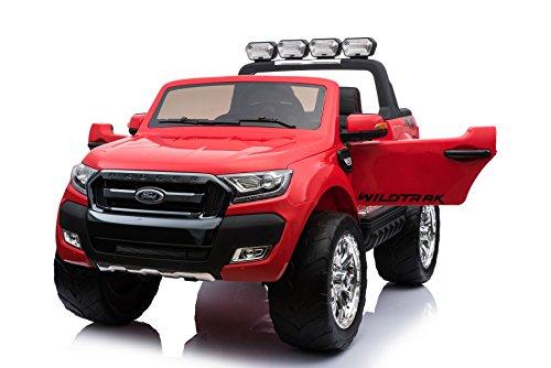 ES-TOYS Kinderfahrzeug - Elektro Auto Ford Ranger, Modell - lizenziert - 2X 12V7AH Akku,4 Motoren+ 2,4Ghz+MP4+Ledersitz+Eva+2 Sitzer (Rot)