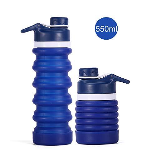 iKiKin Faltbare Wasserflasche Kinder Erwachsene 550ml, Silikon Faltbare Reise Sport Wasserflaschen m