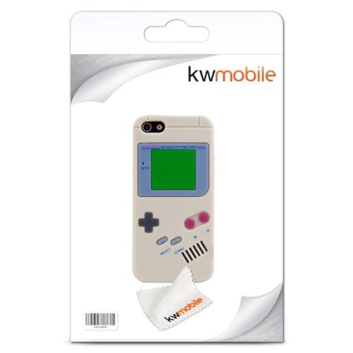 kwmobile ÉTUI EN SILICONE Design panda pour Apple iPhone SE / 5 / 5S Design stylé et protection optimale gameboy gris
