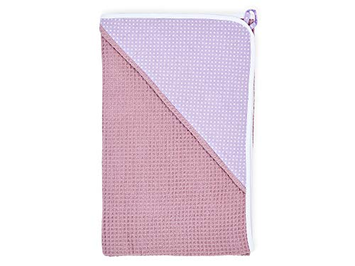 KraftKids Kapuzenhandtuch weiße Punkte auf Lila Waffel Piqué rosa, Kapuzen-Badetuch für Babys und Kleinkinder aus Baumwolle, 75 x 75 cm - Lila Waffel