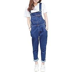 MISSMAO Femme Salopette Jeans Combinaison Denim Slim Jumpsuit Pantalon Casual Lâche pour Printemps Automne Bleu M