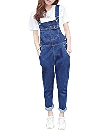Femme Salopette Jeans Combinaison Denim Slim Jumpsuit Pantalon Casual Lâche pour Printemps Automne