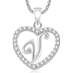 Meenaz Jewellery Silver 'V' Letter Pendant Alphabet Pendant For Men,Women,Girls,Kids in American Diamond Cz Jewellery Set for Women -Pendant 484